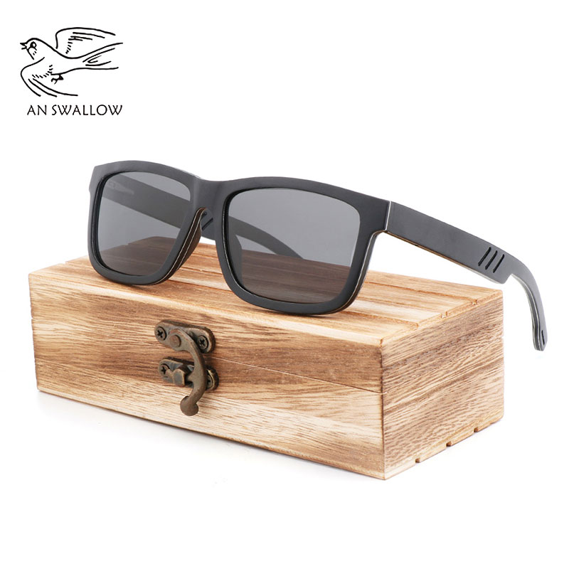 Laminated aluminum wood sunglasses women UV400 men polarized lentes de sol mujer Spring hinge