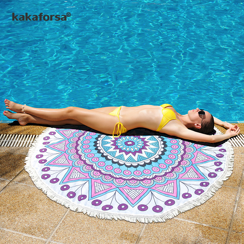 Kakaforsa Print Tassels Beach Cover Up Round Sarong Wrap Cape for Swimsuit Bikinis 2018  ...