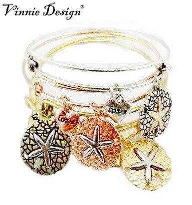 253ca0a46e6e Vinnie Design joyería de calidad superior retro aleación Starfish Amuletos  brazalete pulsera joyería de moda para las mujeres