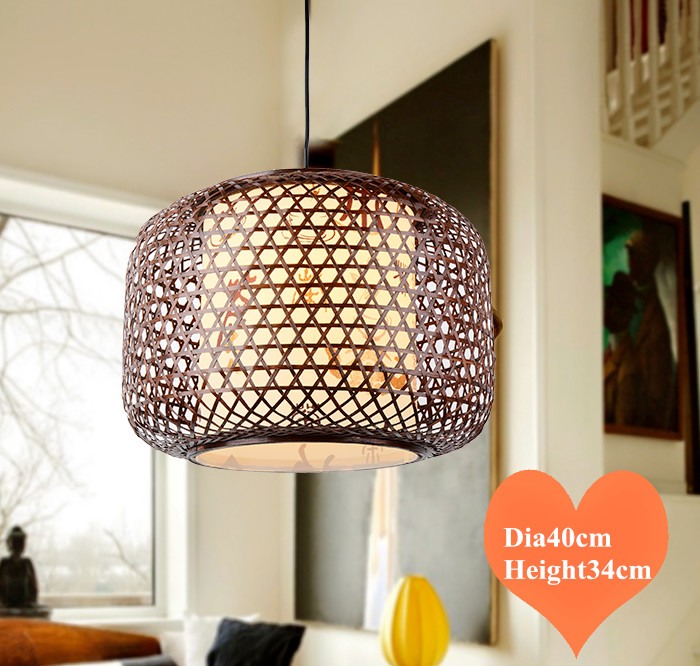 Chinese style hand knitting bamboo art Chandelier Coffee&bamboo color E27 LED lantern lamp for porch&parlor&corridor&bar LHDD042 southeast asia style hand knitting bamboo art pendant lights modern rural e27 led lamp for porch