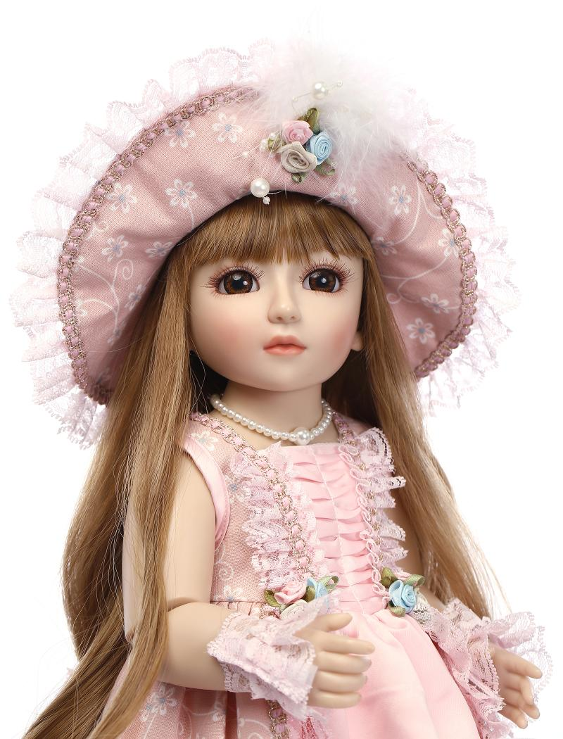 45cm 18'' vinyl plastic lifelike SD BJD 1/4 princess doll toy for girl baby birthday present gift play house bedtime toys doll [mmmaww] christmas costume clothes for 18 45cm american girl doll santa sets with hat for alexander doll baby girl gift toy