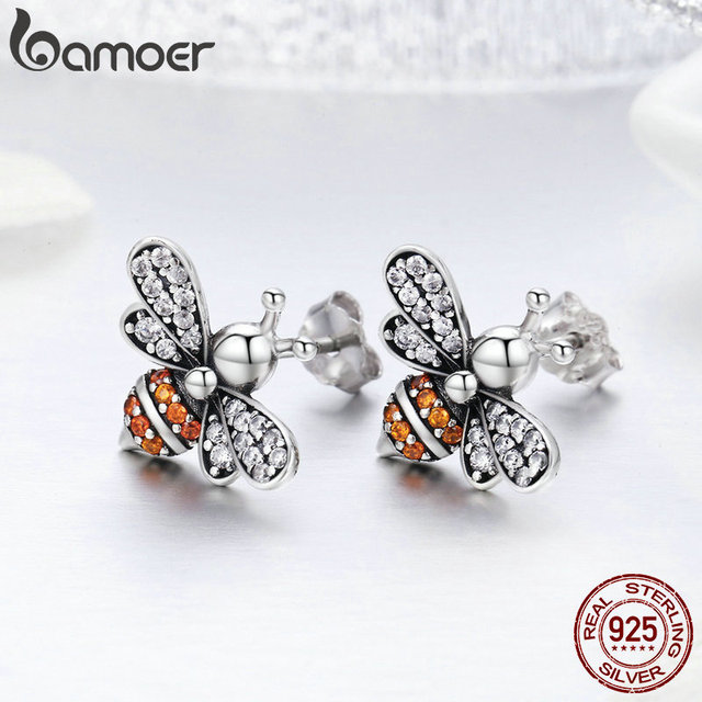 925 Sterling Silver Bee Exquisite Stud Earrings 2