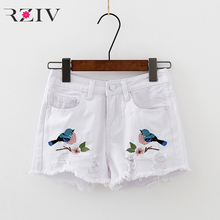 RZIV 2017 summer female casual jeans bird embroidery solid color hole denim shorts