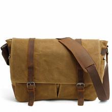 15 inch Laptop briefcase retro vintage waterproof canvas bag s travel messenger bag man crossbody bag shoulder bag LI-1489