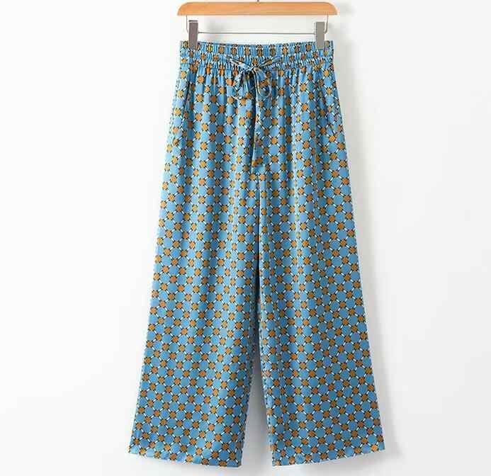 2020 Biru Dicetak Jaket Kimono dengan Bulu Lengan Lebar Kaki Longgar Cuasal Celana Wanita Vintage Pakaian Baju