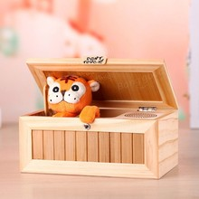Girl Friend Gift Eco-Friendly Wooden Electronic Useless Box with Sound Cute Tiger Funny Toy Stress-Reduction Desk Decoration(China)