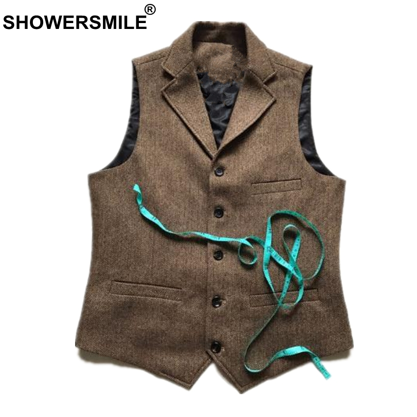 Men's Clothing Showersmile Vintage Tweed Vest Herringbone Striped Suit Vest Light Brown Waistcoat Vest Slim Fit Sleeveless Jacket Gilet Homme Vests