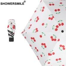 SHOWERSMILE Mini Pocket Umbrella Woman Small Parasol Uv Protection Cherry Print Black Coating Folding Female Sun Rain