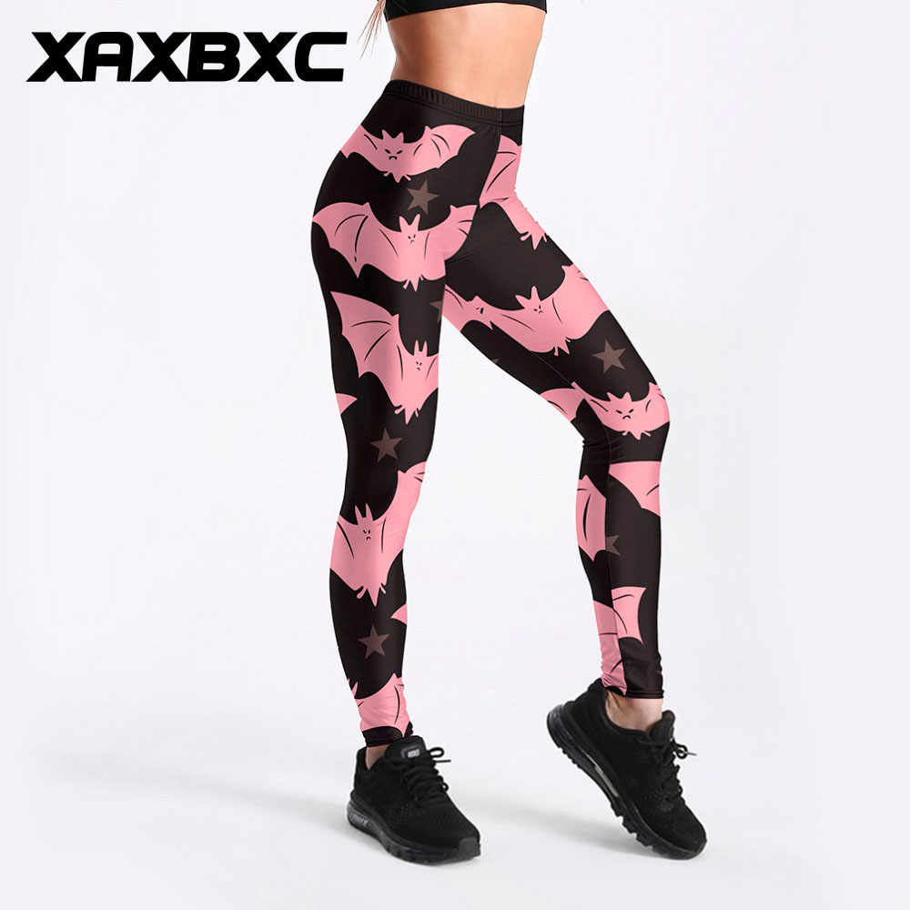 XAXBXC 3194 Sexy Girl Pencil Pant Cute Pink Bat Monster Star Prints Elastic Slim Fitness Workout Women Leggings Plus Size