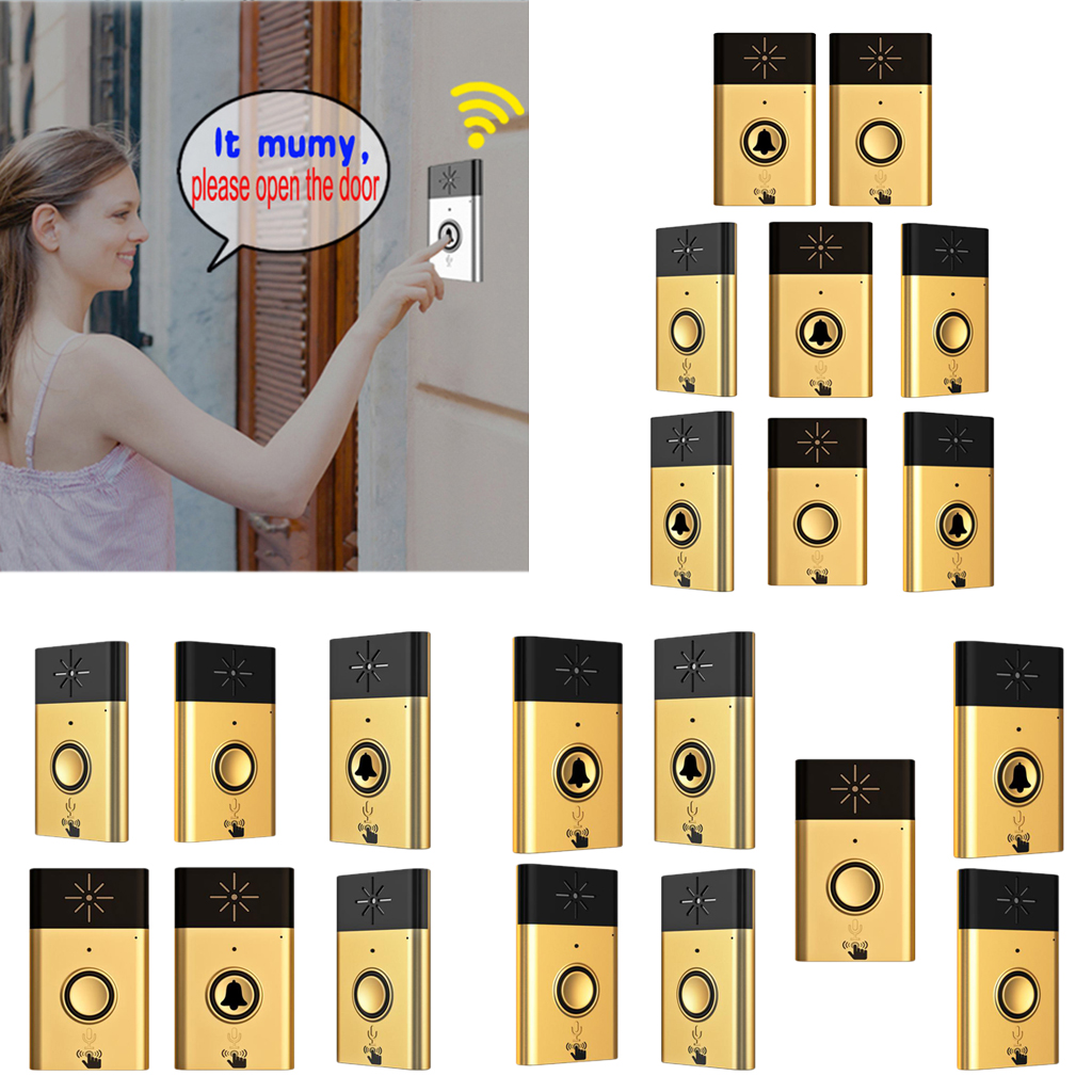 200M Range Wireless Doorbell Golden Door Chime Song with Sound Voice Intercom