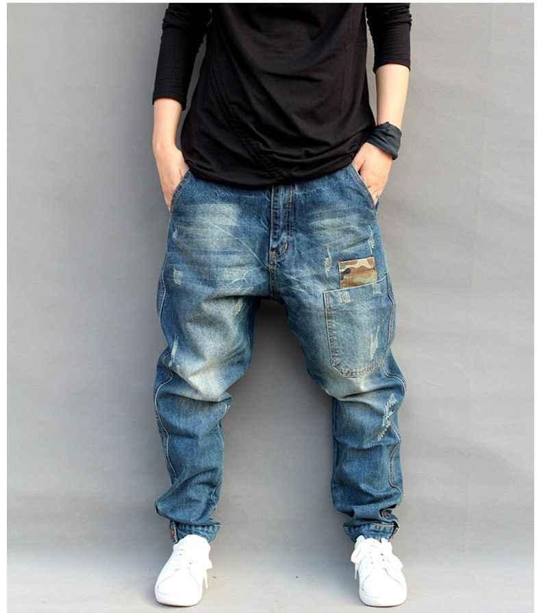 c7a64e0d1d6 ... Синие рваные мешковатые Джинсы для женщин Для мужчин S хип-хоп Уличная  Скейтборд джинсовые штаны ...