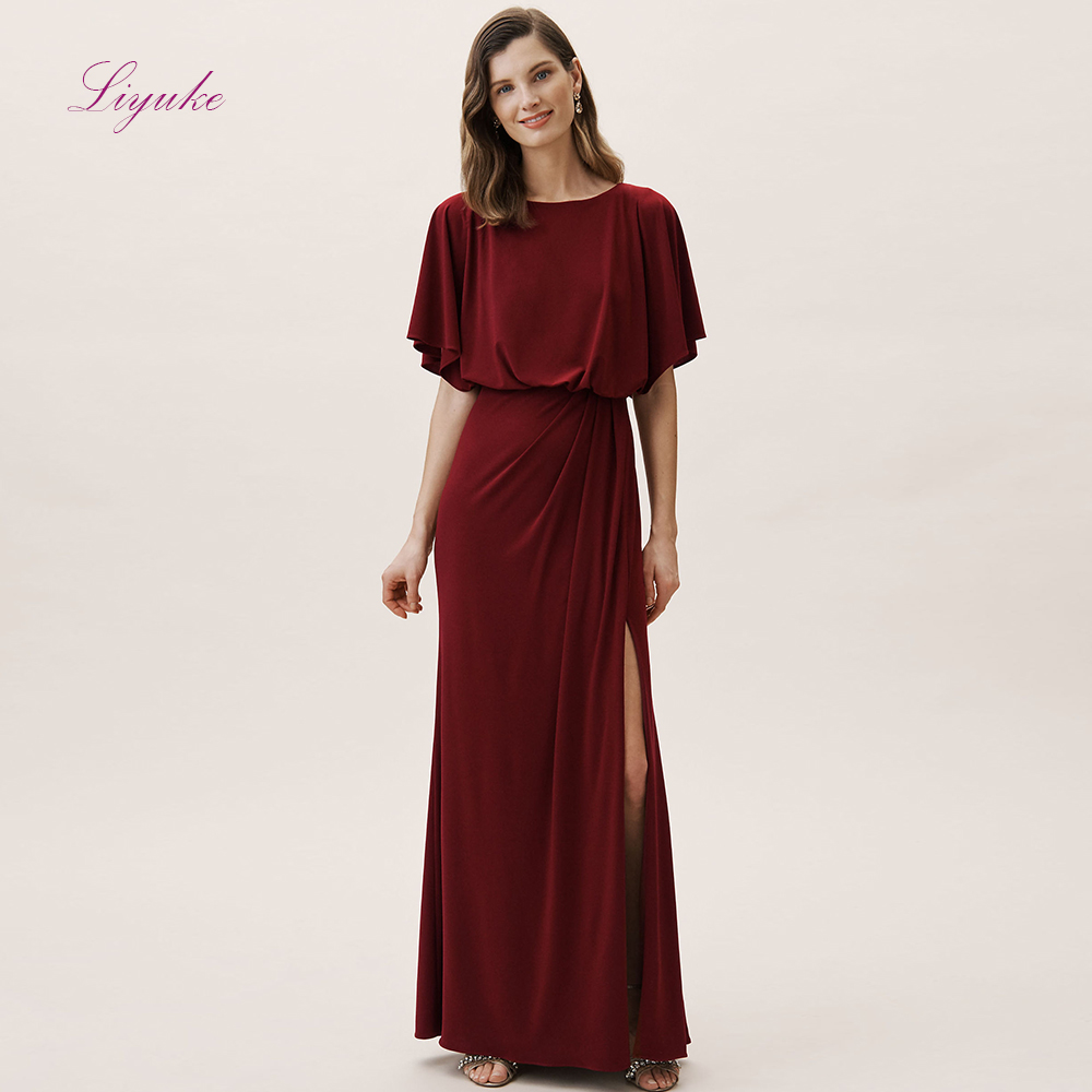 Liyuke A line   Bridesmaid     Dress   O-Neck Half Sleeves Chiffon Long   dress   Spilted Simple Design Customized Free Shipping