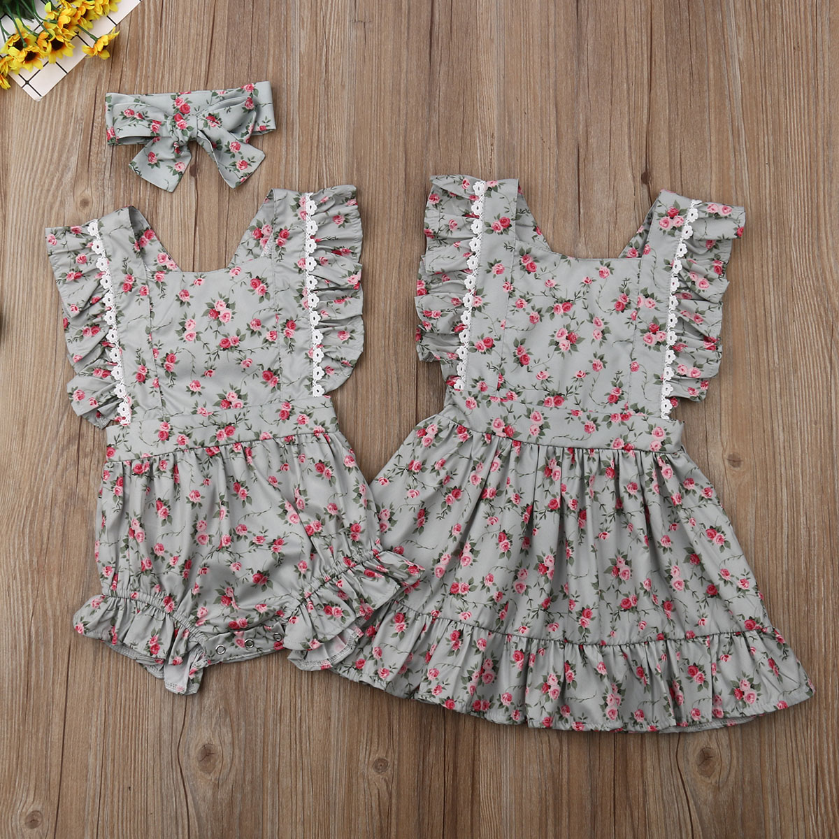 Vintage Floral Pinafore Dress