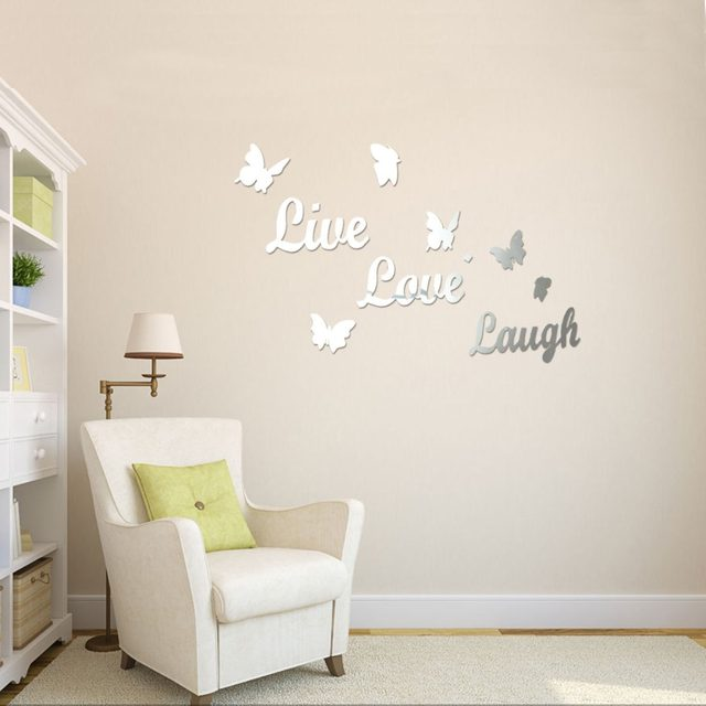 1 Set Home Decor Live Love Laugh Letters Wall Stickers Acrylic Mirror Wall  Art Stickers Wall Quotes Decal Room Decoation P25