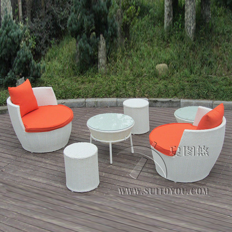 6 Pcs UV Resistant Fashion Obelisk Chair With Round Tea / Coffee Table Transport By Sea