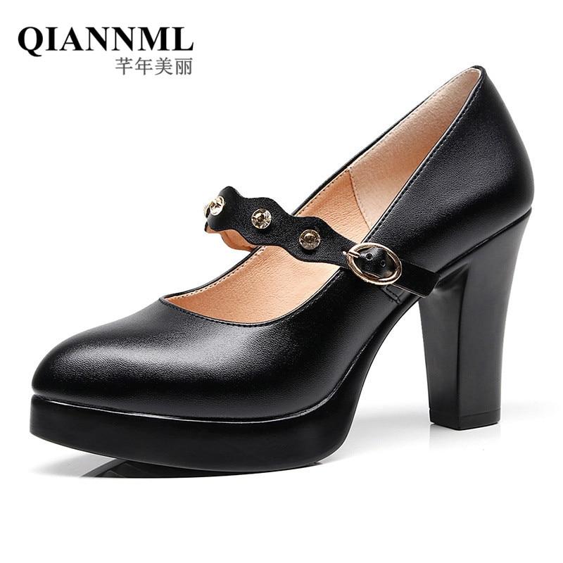 QianNML Women's Split Leather Shoes 2019 8CM High Heels Pumps Women Office Shoe Black Big Size 33 34 42 43-in Women's Pumps from Shoes    1