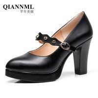 QianNML Women's Split Leather Shoes 2019 8CM High Heels Pumps Women Office Shoe Black Big Size 33 34 42 43