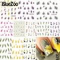 BlueZoo 11 Листов Nail Art Water Transfer Наклейки Смешанные Конструкции Цветок Перо Ногтей Наклейки Наклейка Ногтей Фольга Обертывания Маникюр