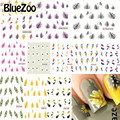 BlueZoo 11 Sheets Nail Art Water Transfer Stickers Mixed Designs Feather Flower Nail Stickers Decal Nail Foils Wraps Manicure