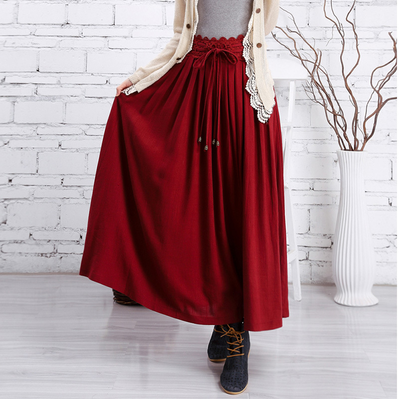 Literary Retro Spring Autumn Women Hollow Out Spliced Drawstring Bow Women S Solid A Line Cotton