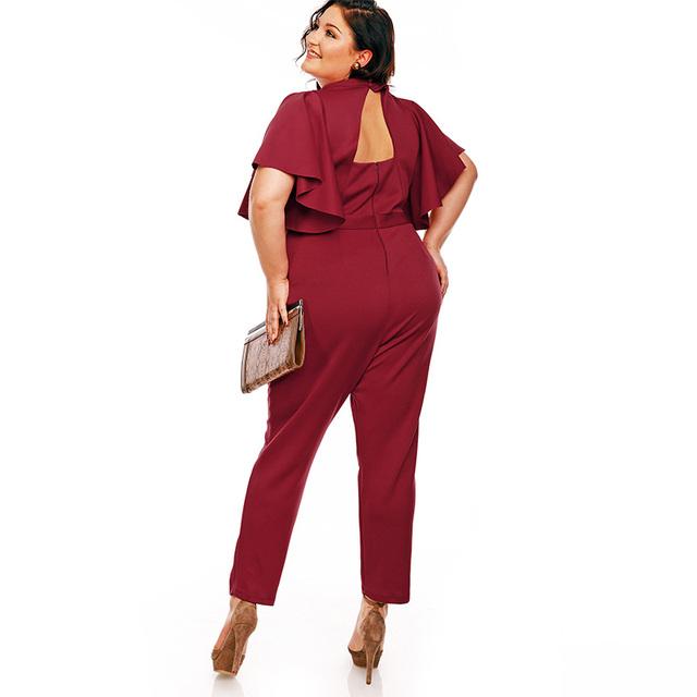 Plus Size Jumpsuit 4XL 5XL Women Plain Red Pencil Pants Patchwork Office Jumpsuit