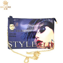 Trendy multifunction women magazine cover characters bag clutch bag chain shoulder messenger bag цены