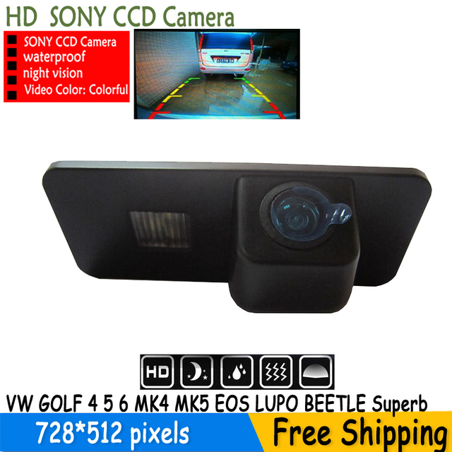 SONY CCD Car Rear View REVERSE CAMERA for Volkswagen VW PHAETON/SCIROCCO/GOLF 4 5 6 MK4 MK5 /EOS/LUPO/BEETLE With Guide Line