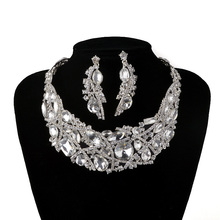 Silver Plated Rhinestone Choker Jewelry Bridal Wedding Necklace Earrings Sets Women Party Jewelry Sets Silver Choker