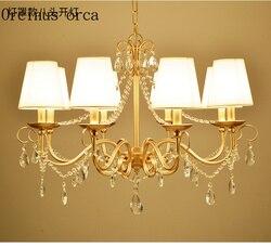 Francuski luksusowy złoty kryształowy żyrandol salon sypialnia europejski styl osobowość twórcza LED całkowicie miedziany kryształ lampa