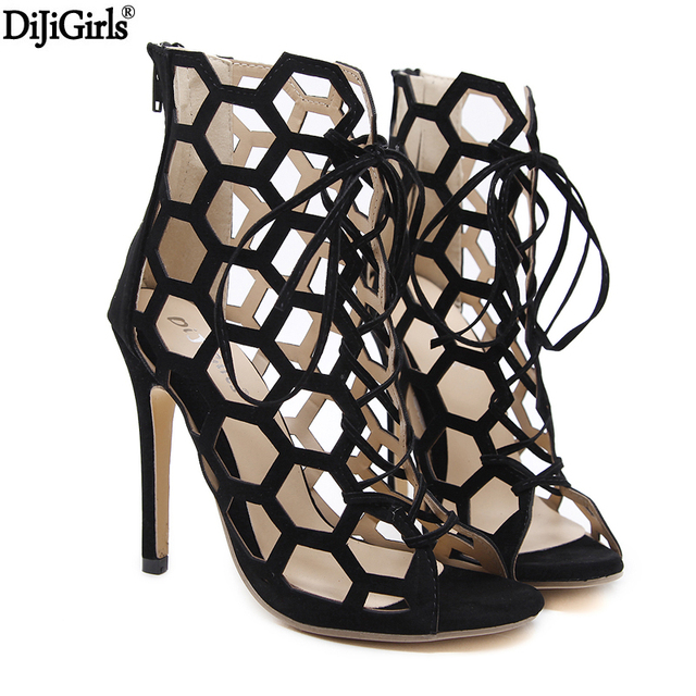 e779ea30d849 12cm Hollow Out High Heel Sandals Cross Strappy Gladiator Roman Sandals  Cage Stiletto Heels Black Shoes Summer Party Femme Shoes