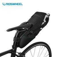 Roswheelバイクバッグ8l 10lナイロン防水自転車サドルバッグ後部座席バッグ黒サイクリングリアラックバッグバイクアクセサリー