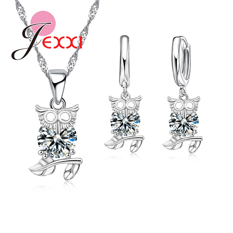 PATICO New Arrival Animal Owl High Quality Women Silver Jewelry Set For Cocktail Party Clear Crystal Necklace Pendent Earrings