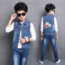 Baby Vests Bebe Jacket Denim Boys Waistcoats  6 7 8 9 10 Years Outerwear Children Clothing Spring Autumn Clothes Kids Vest Tops стоимость