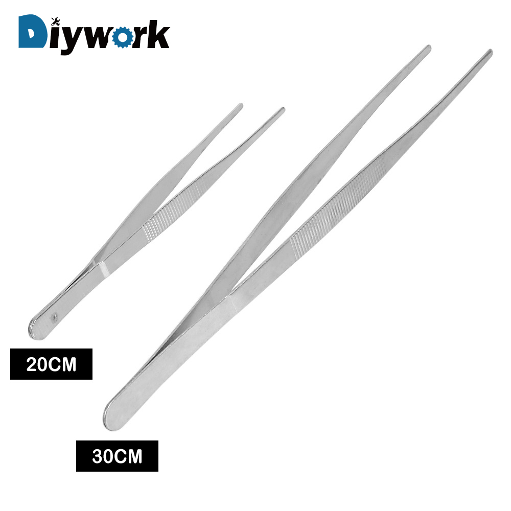DIYWORK Straight Tweezer Stainless Steel Toothed Tweezer Long Barbecue Food Tong Home Medical Garden Kitchen BBQ Tool