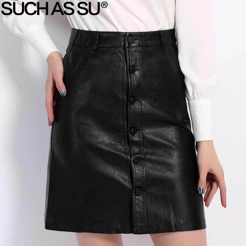 Fall Winter Skirts Women 2018 Brand Knee-Length PU Leather Skirt S M L XL XXL XXXL Plus Size Single-Breasted Black Skirt Female