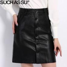 Fall Winter Skirts Women 2016 Brand Knee-Length PU Leather Skirt S M L XL XXL XXXL Plus Size Single-Breasted Black Skirt Female женские блузки и рубашки brand new s m l xl xxl a375