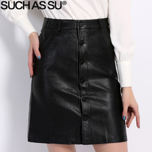 Fall Winter Skirts Women 2018 Brand Knee-Length PU Leather Skirt