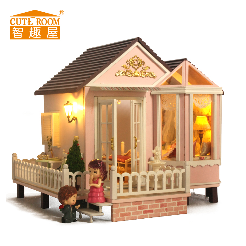 Assemble DIY Doll House Toy Wooden Miniatura Doll Houses Miniature Dollhouse toys With Furniture LED Lights Birthday Gift A012 cutebee doll house miniature diy dollhouse with furnitures wooden house toys for children birthday gift a 026