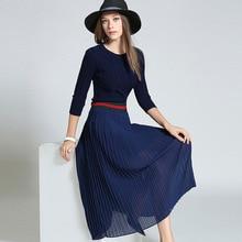 Stylish o neck maxi dresses autumn winter draped fashion dress new big swing 3 quaters sleeve Slim long dress vestidos mujer