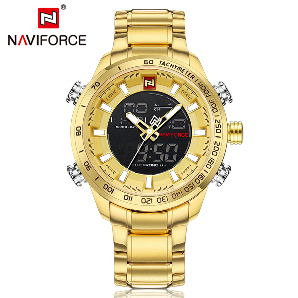 NAVIFORCE Men's Military Sports Watches Men LED Digital Watch Waterproof Full Steel Quartz Watches Man Clock Relogio Masculino 2018 amuda gold digital watch relogio masculino waterproof led watches for men chrono full steel sports alarm quartz clock saat