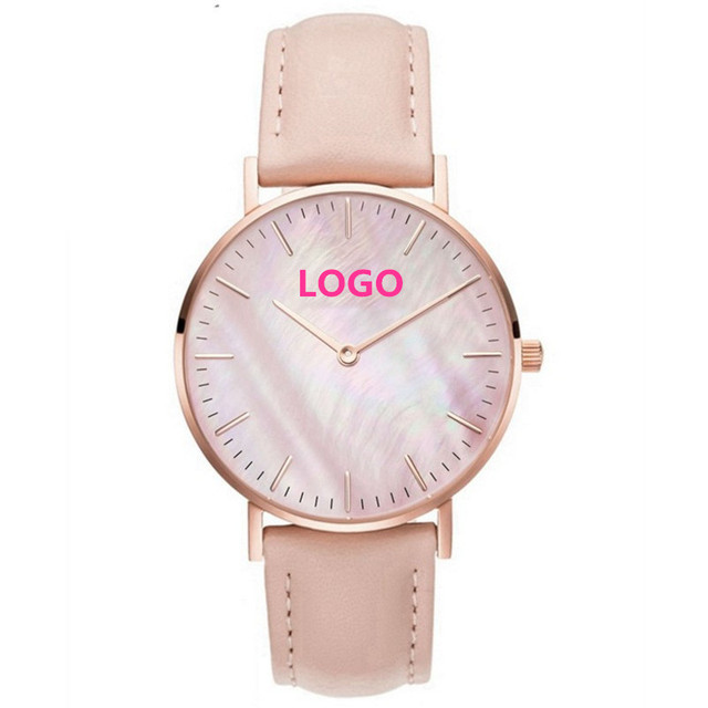 Personalized Customization Watches Rose Gold Pink Seas Pu Leather Wrap Bracelet Watch Can Customized Logo Name