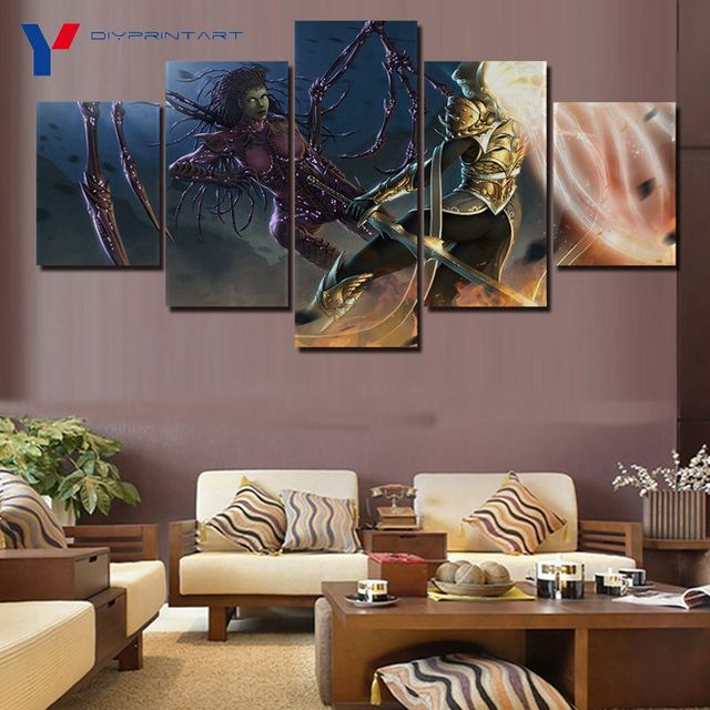 Starcrafts Diablos Characters 5 Panels Decorations for Home Game Poster Wall Painting Living Room A0985 3