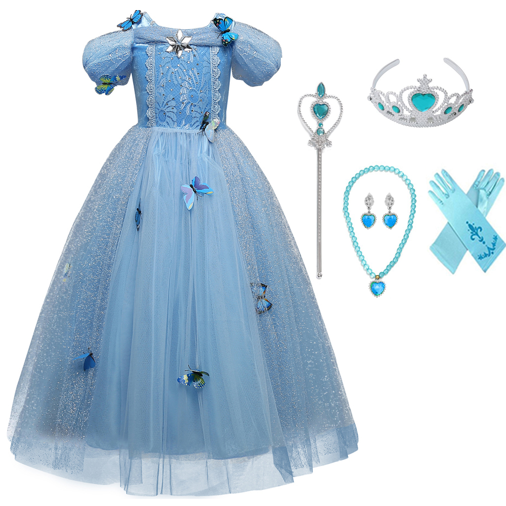 Cinderella Princess Girls Dress Kids Fancy Easter Party Cosplay ...
