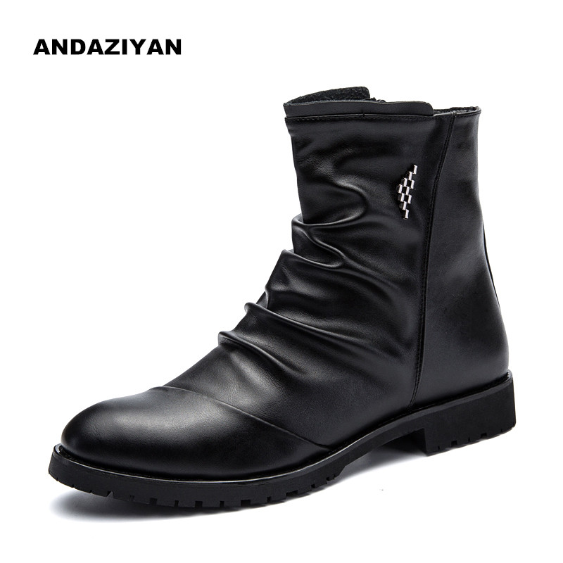 Men's high-top shoes autumn and winter boots zipper sleeve feet boots cropped wide sleeve top