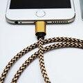 Mirco usb de carga rápida de nylon trenzado de alambre 2a 1 m de sincronización de datos del teléfono cable rayo 8pin para iphone 5 6 7 samsung huawei xiaomi lg
