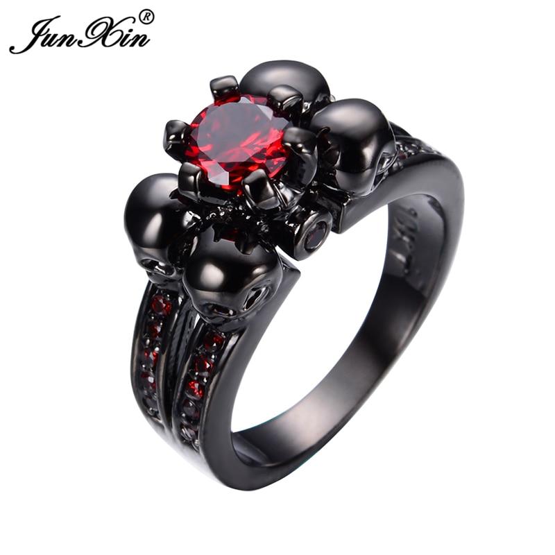 Prix pour JunXin Mode Femelle Crâne Rouge Anneau Noir Or Rempli Bijoux 2017 Top Qualité Partie De Fiançailles De Mariage Anneaux Pour Les Femmes