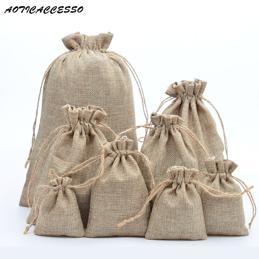 Handmade Jute Drawstring Bags Linen Gift Bag Wedding Party Favors Jewelry Packing Bags Accept Customize Wholesale 50 Pcs/lot