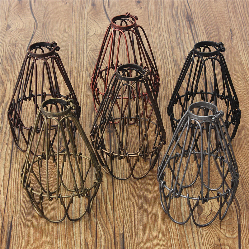 Retro Vintage Industrial Lamp Covers Pendant Trouble Light Bulb Guard Wire Cage Ceiling Fitting Hanging Bars Cafe Lamp Shade ...