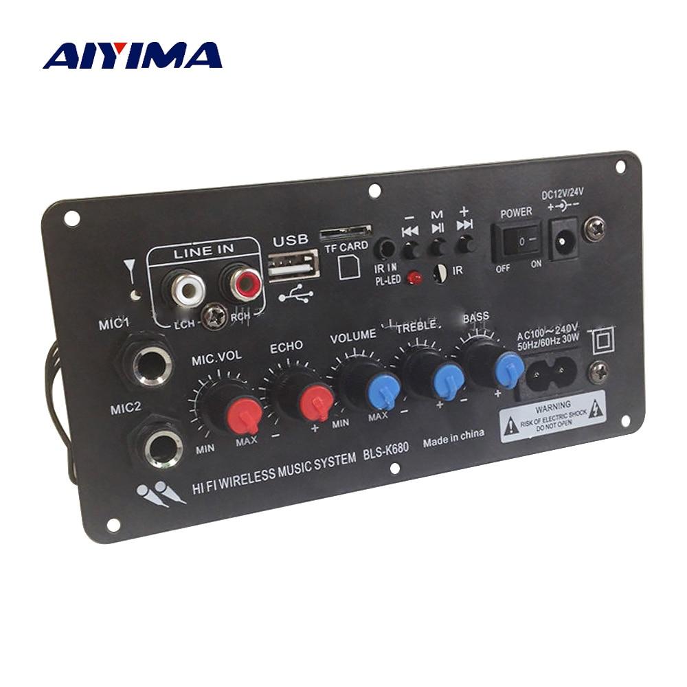 aiyima subwoofer digital bluetooth amplifier board dual microphone karaoke amplifiers 12v 24v. Black Bedroom Furniture Sets. Home Design Ideas