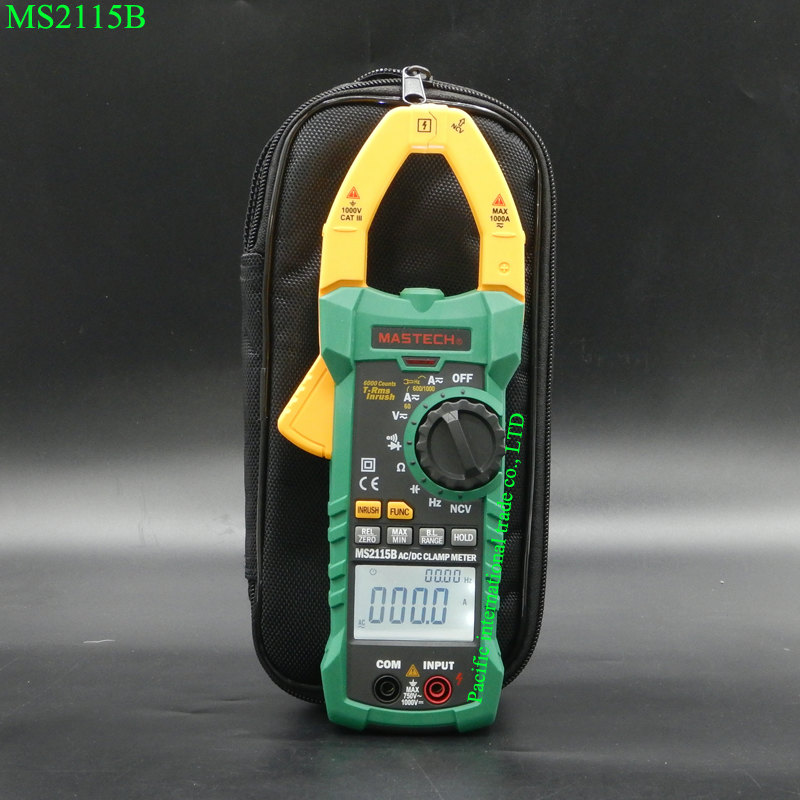 MASTECH MS2115B Digital Clamp Mete AC/DC with 6000 Counts NCV True RMS Multimeter Voltage Current Tester Detector with USB mastech ms8250c autoranging digital multimeter true rms low pass filtering 6600 d a display ncv usb data transmission